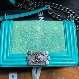 Chanel small boy stingray in blue/green/turquoise
